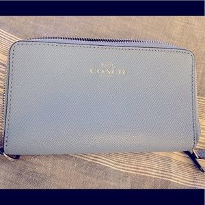 Blue COACH Zip Around Wallet